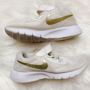 Nike Toddler Girls Gold and Cream Sneakers Shoes
